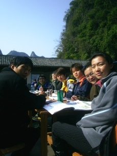 Teaching on the rooftop in Yangshuo, Guilin, China